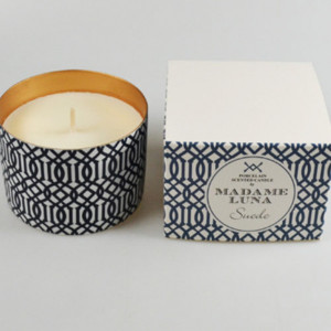 Blue Decal Suede Candle